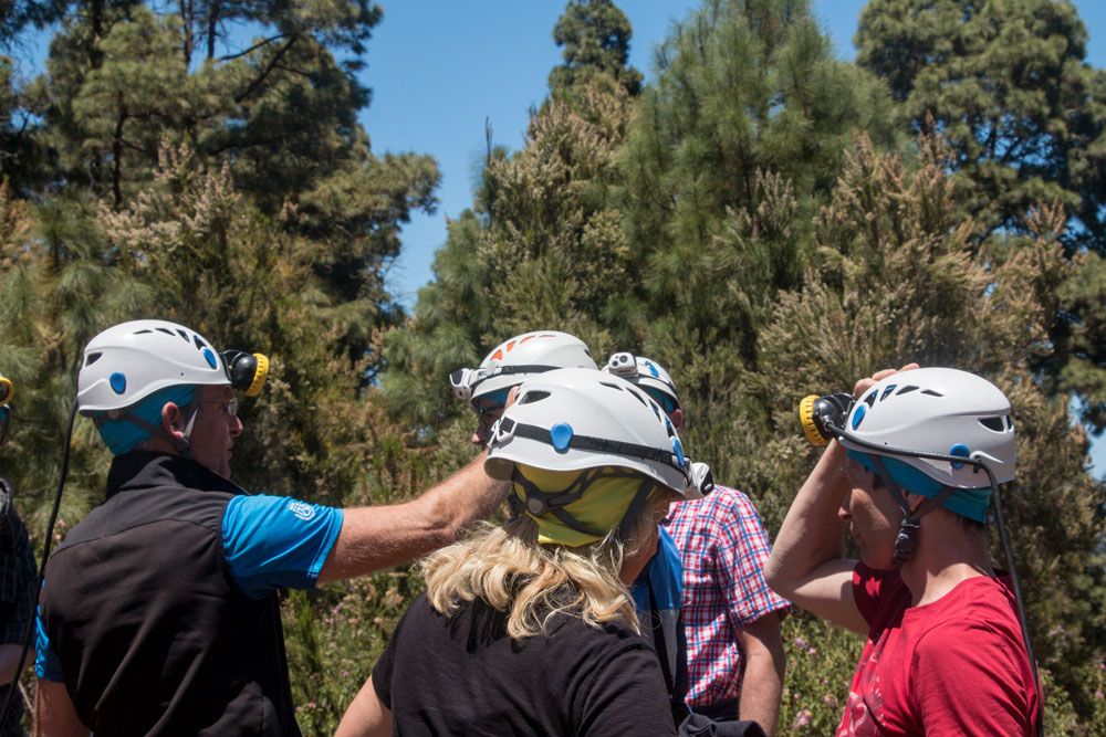 Visitors with helmets