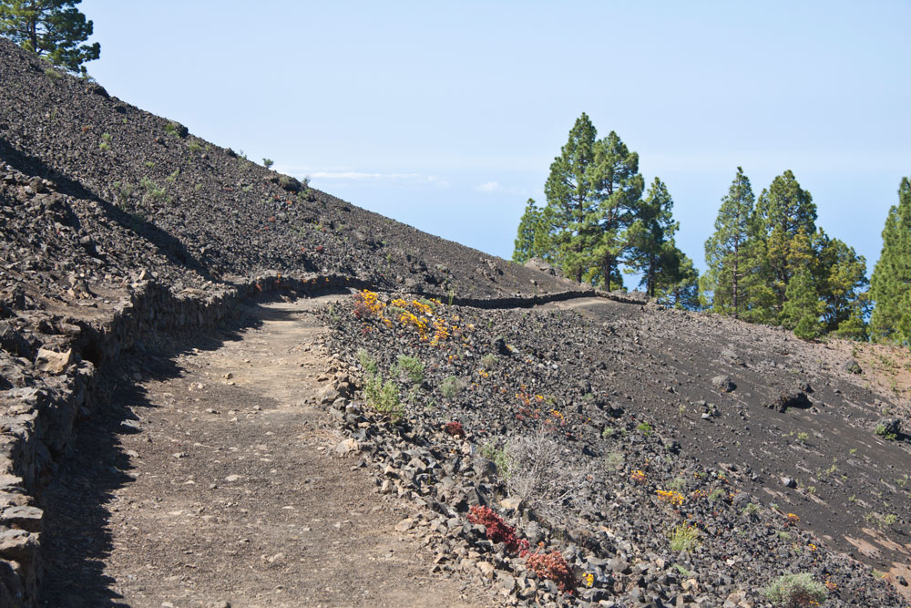 Hiking trail along the volcano