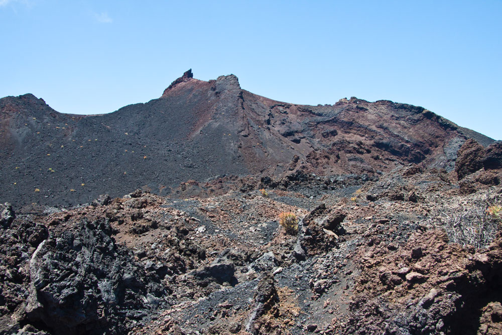 Dark volcanic soil characterizes the landscape of the south of La Palma