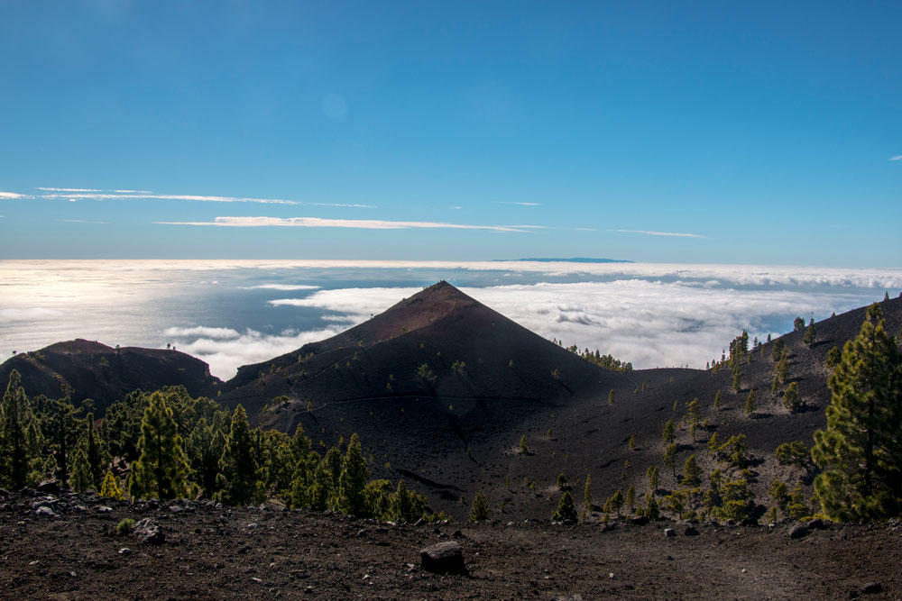 View of the southern volcanoes during the ascent to the volcano La Deseada