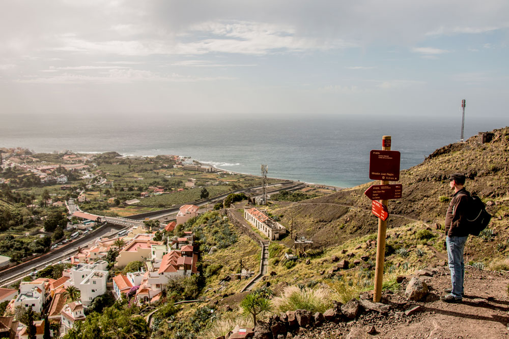 View to La Calera and the harbour during the descent