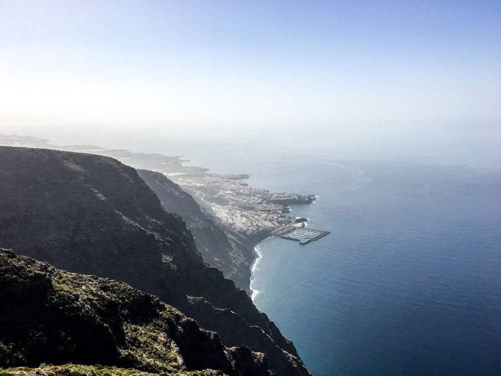 view from the rock gate El Bujero to Los Gigantes