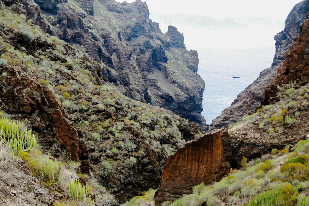 Barranco Seco - View from the lower part to the Atlantic Ocean