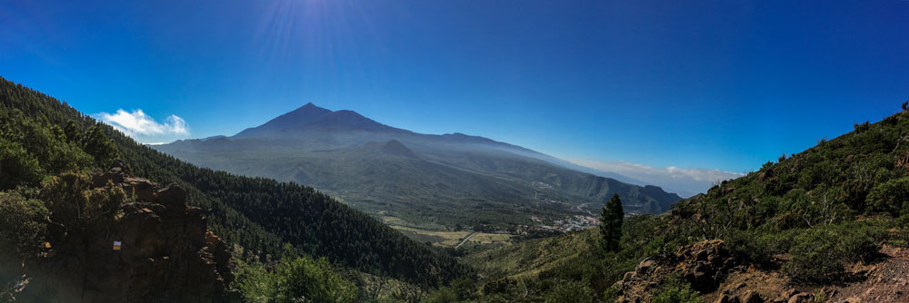 Panorama view to Teide high over Santiago del Teide