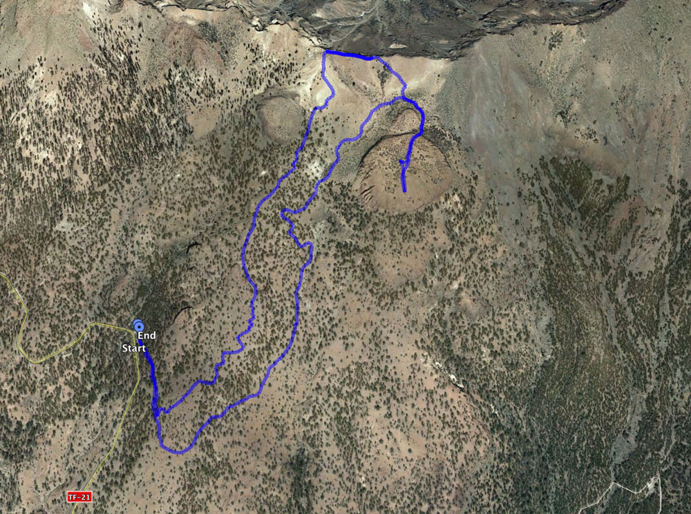 Track of the circular hike to the Sombrero de Chasna