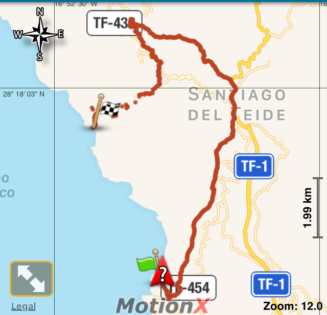 track of the whole roundtrip from Los Gigantes to Masca