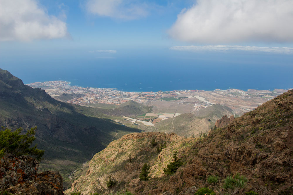 view Roque de los Brezos on the southern coastline of Tenerife