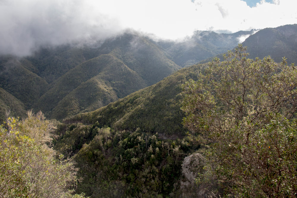 clouds over the mountains on the cuevas negra hike