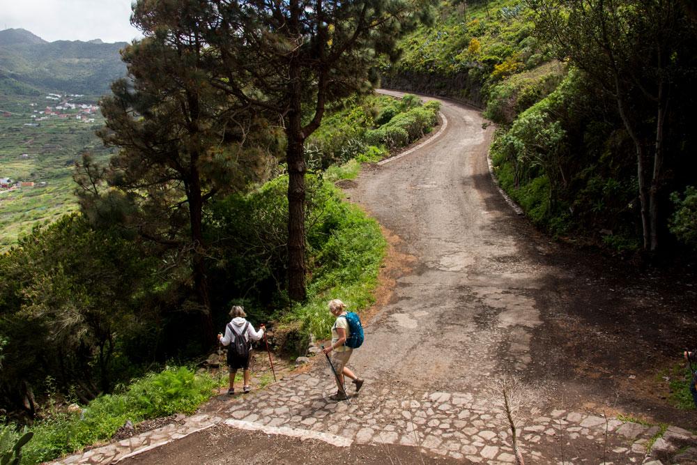 The hiking path to Las Portelas is crossing a little road