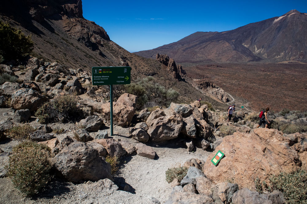 descent path to the Parador with view to the Teide - Guajara 2