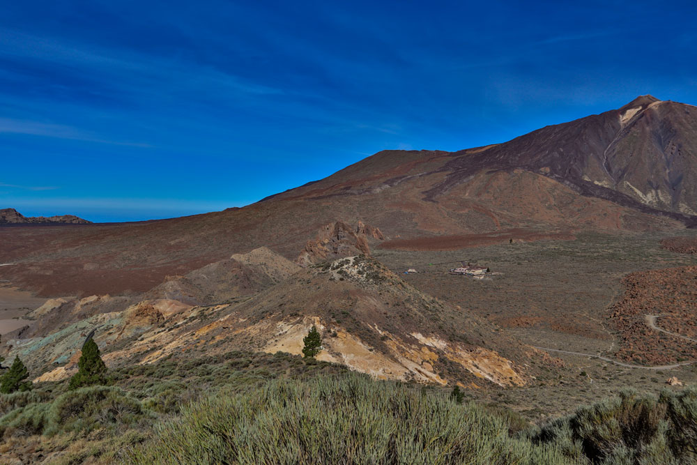 View to the Parador Nacional and Mount Teide
