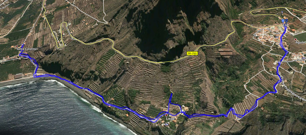 Track of the hike Agulo-Hermigua-Agulo