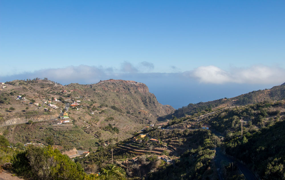 View back - hights and mountain villages - north of La Gomera