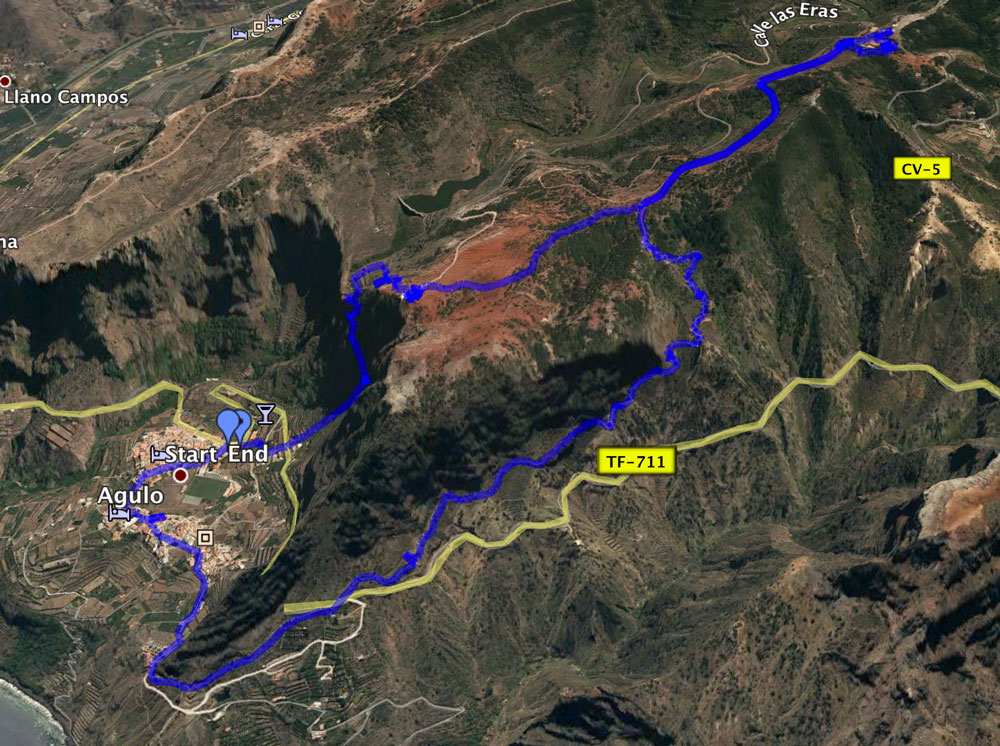 Track of the circular hike from Agulo to Mirador Abrante and Juego de Bolas