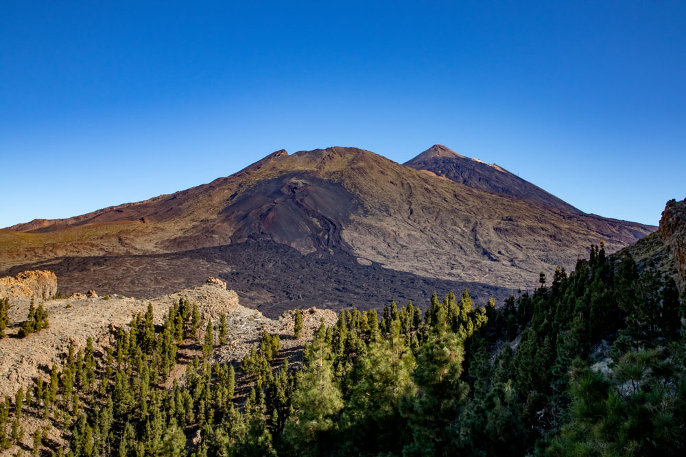 view to Mount Teide and Pico Viejo from the Montaña el Cedro