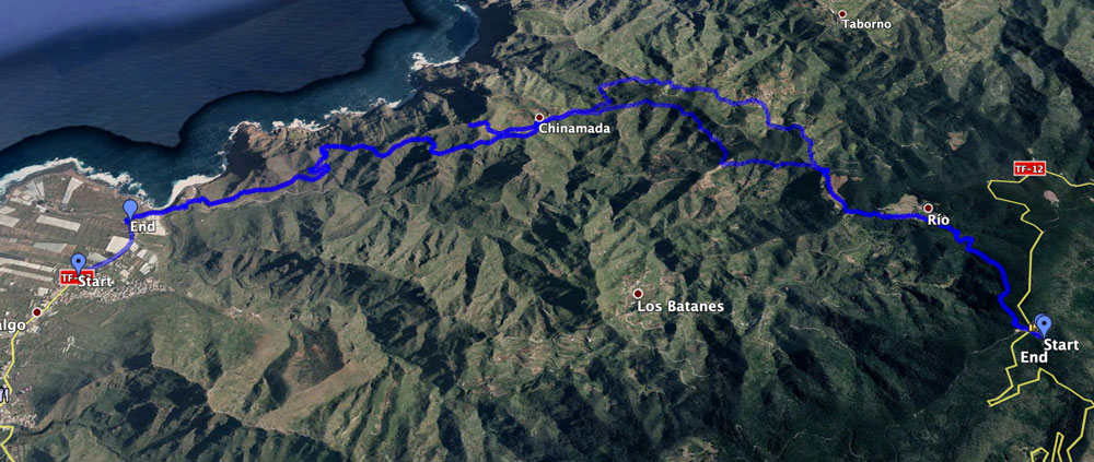 Track of the hike Punta del Hidalgo - Chinamada and from there to Cruz del Carmen