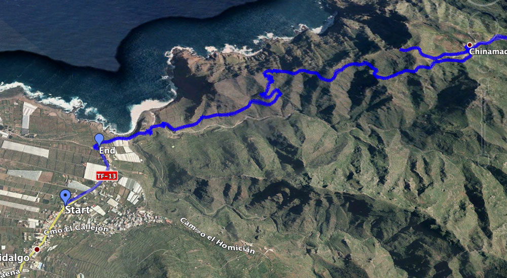Track of the hike Punta del Hidalgo to Chinamada