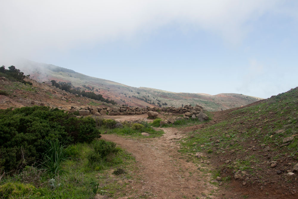 HIking path on the plateau - stone circle from the Guanches