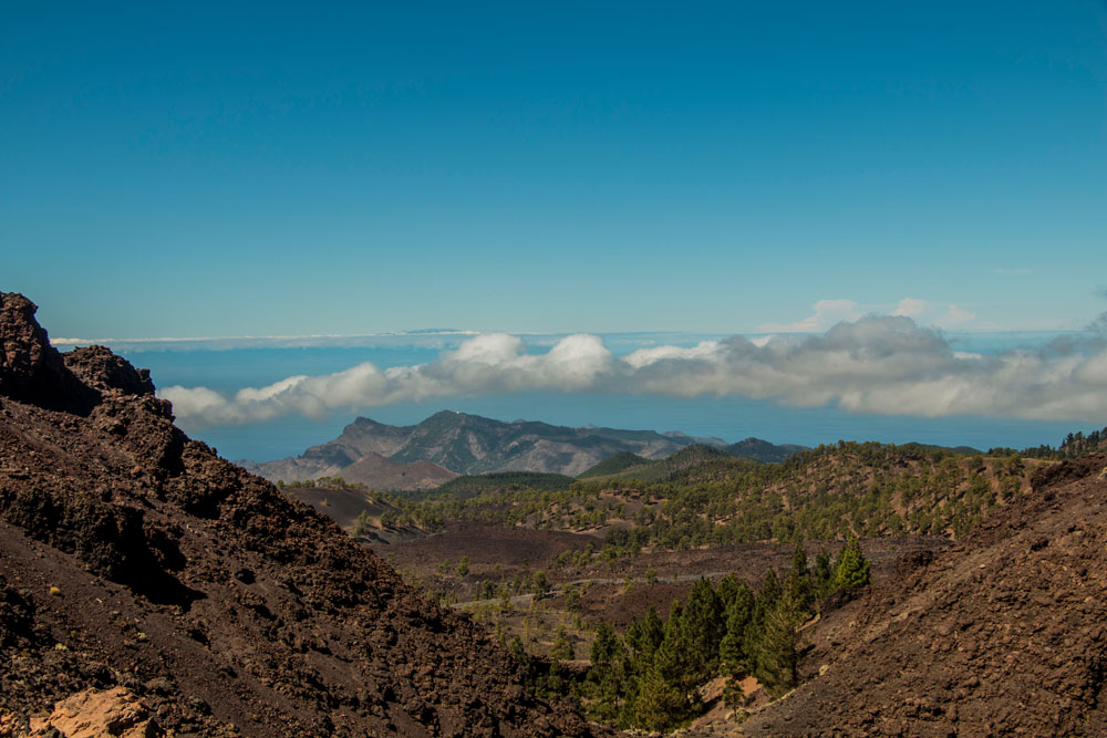 view from the height to the Teno mountains and the island of La Gomera