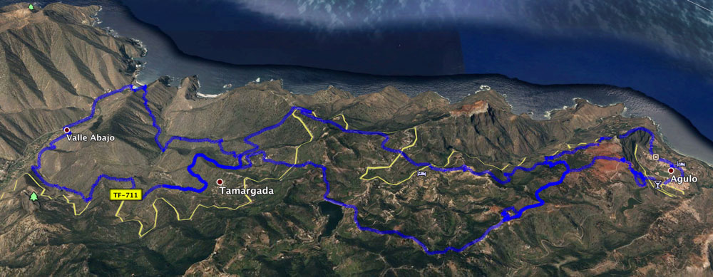 Track of the hike (in the middle) in combination with two other circular hikes on La Gomera