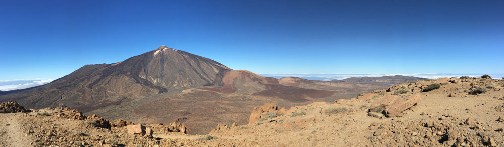 Panorama view from the top of Guajara to Teide