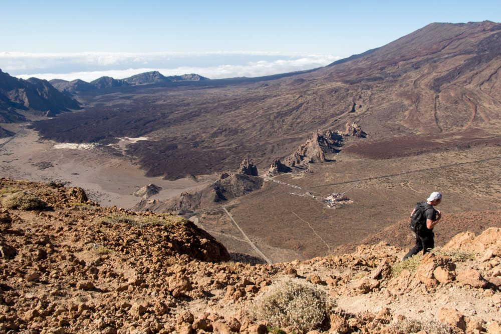 Hiker on top of Guajara above the Caldera