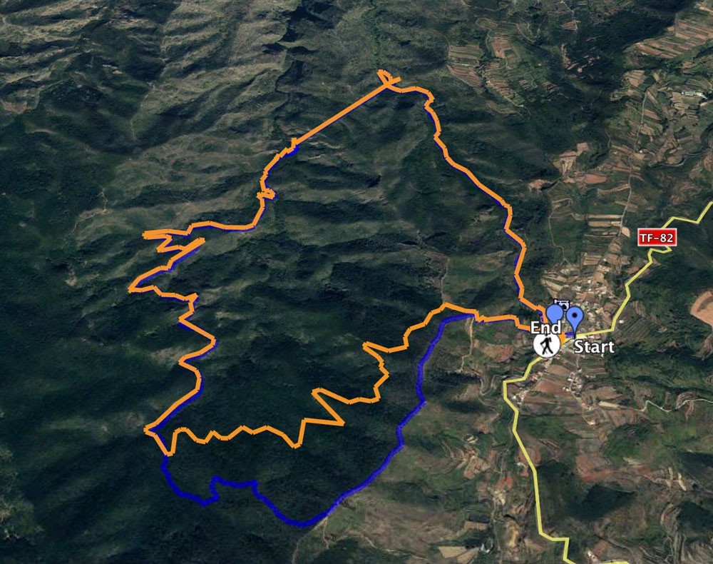 Track of the hike Erjos-Tunnel-Erjos with variant without ridge (orange)