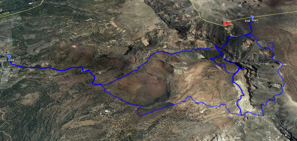 all 5 tracks leading to the summit of the Guajara