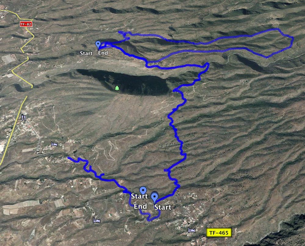 Track of the circular and another track from Vera de Erques to El Jaral