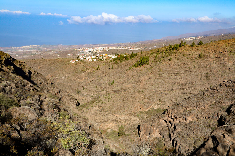 view over the Barranco to the south coast