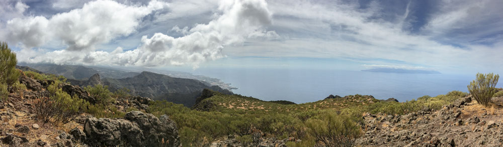 Panorama view to La Gomera and south coast
