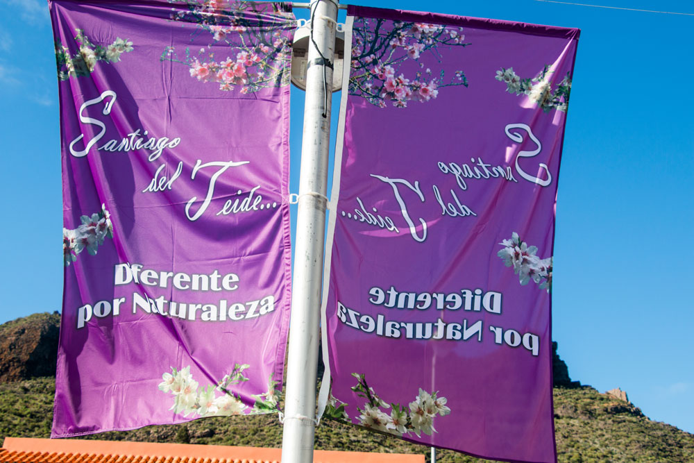 Flag in Santiago del Teide for the almond blossom festival