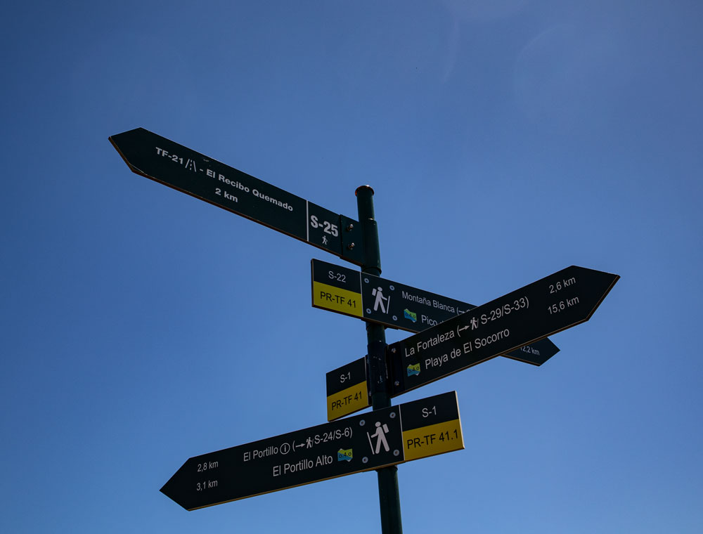 signposts to the different hiking trails