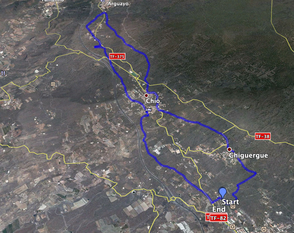 Track of the hike from Guía de Isora via Chío, Arguayo and Chiguergue