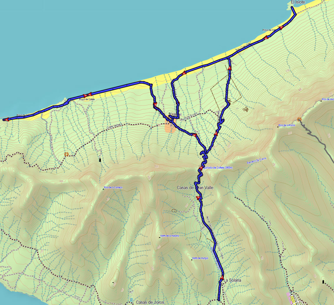 All tracks of the hike around Cofete