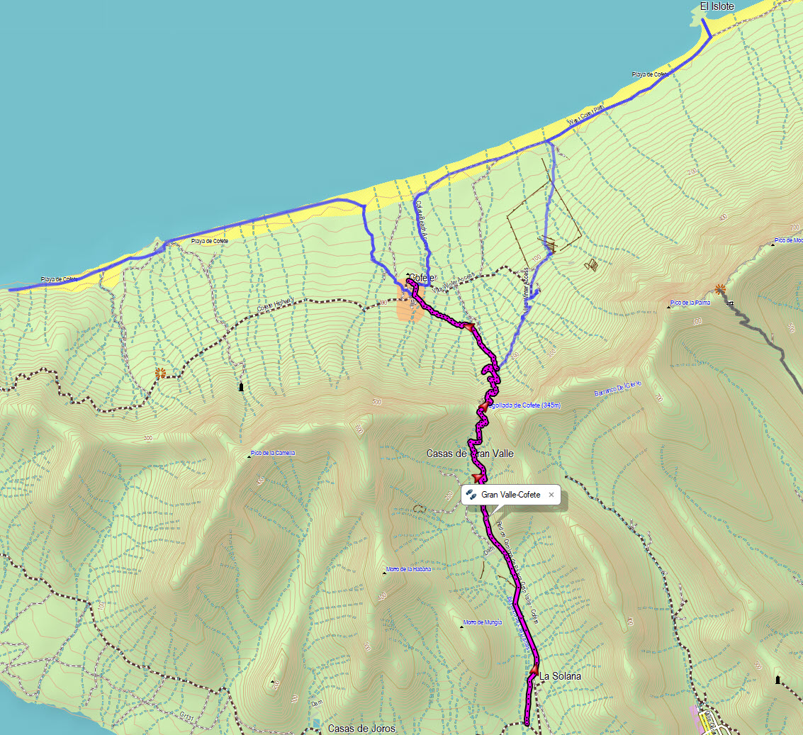 Track of the hike Gran Valle - Cofete