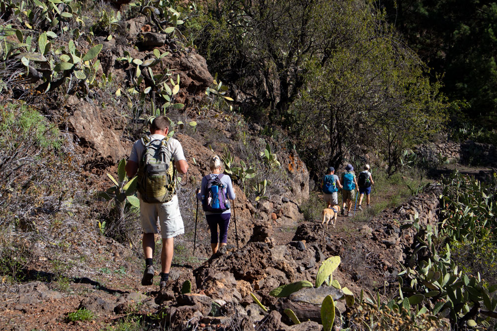 Hikers on the way to a small Barranco