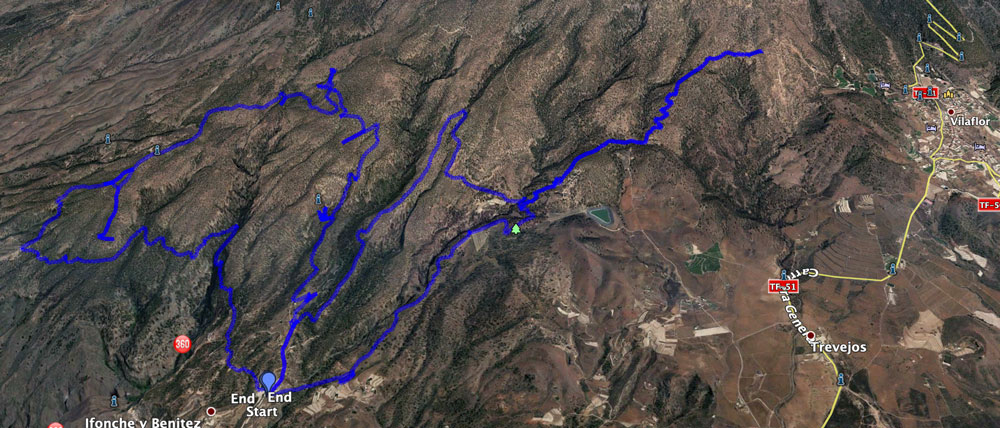 Track of the Ifonche hike towards Vilaflor and the neighbouring Great Circle from Ifonche