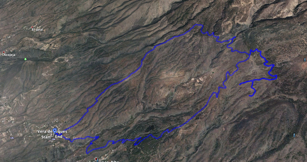 Track of the hike from Vera de Erques to the waterfall and a small extension