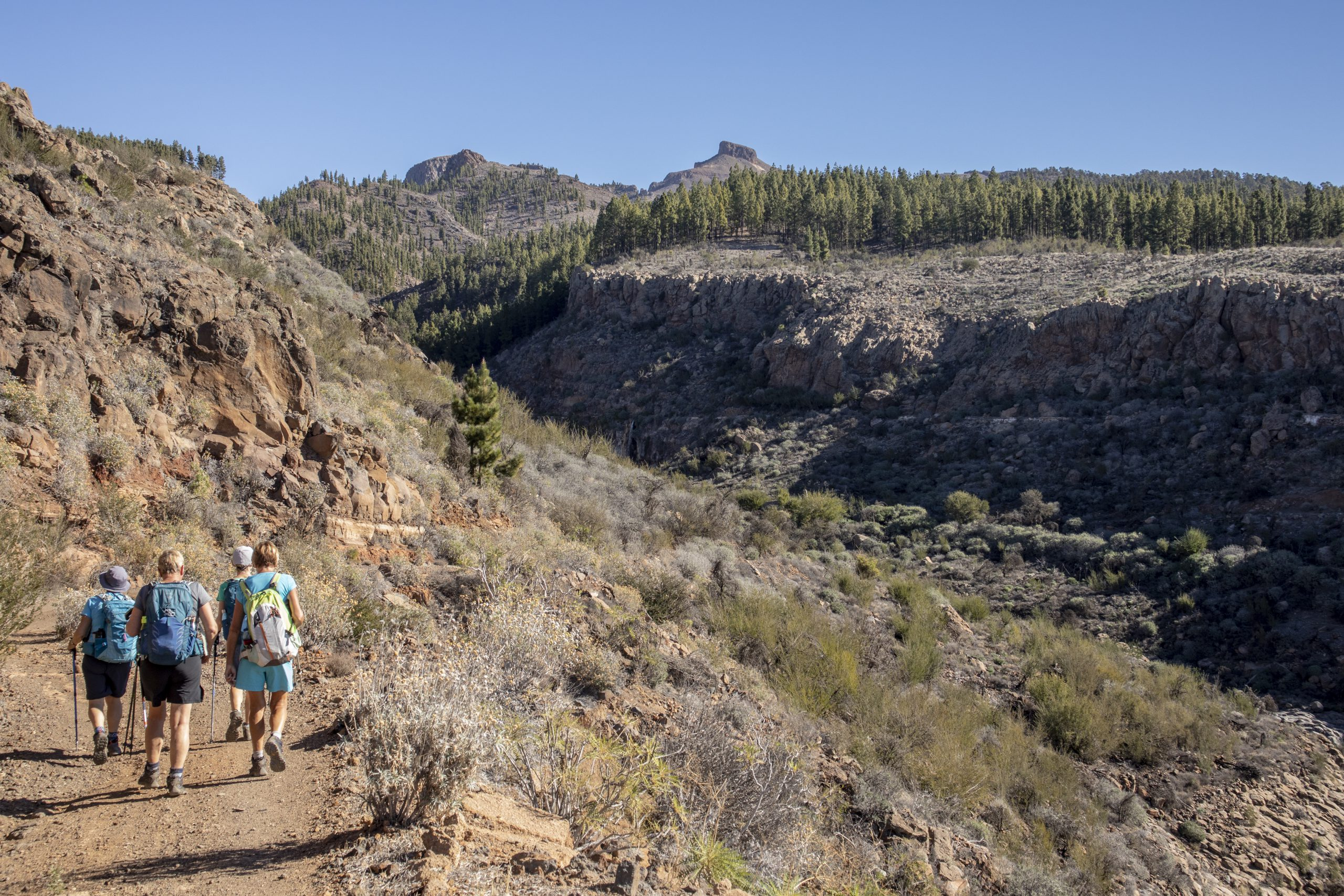 Women hikers on the trail near the waterfall