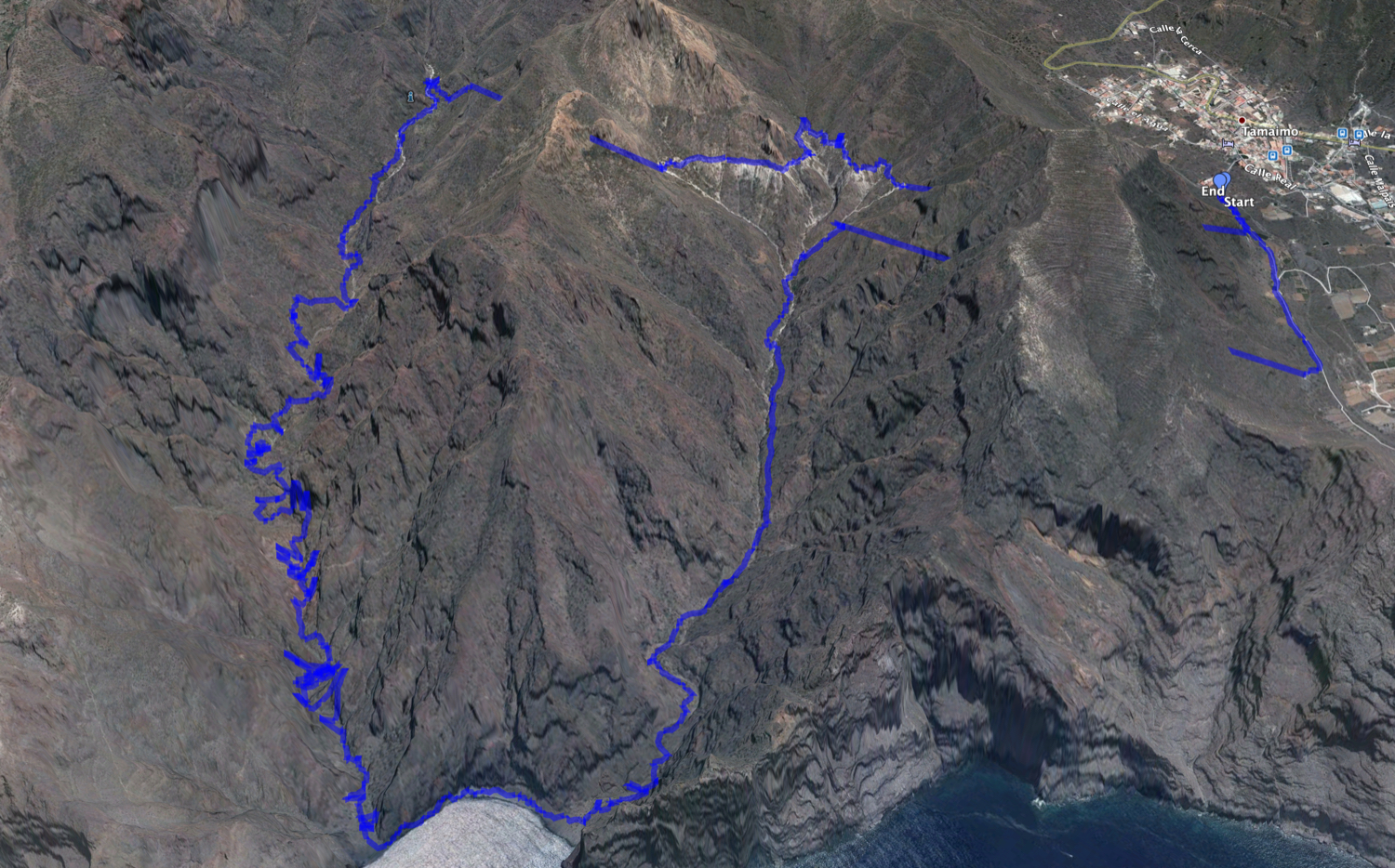Track of the hike from Tamaimo across the White Channel and back through the Barranco Natero and Barranco Seco