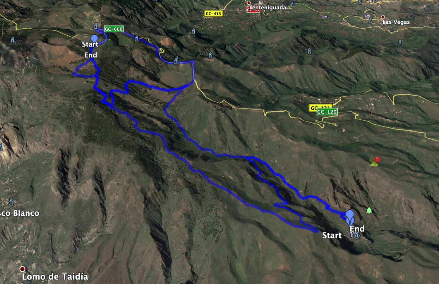 Track of the hike Barranco de Guayadeque and circular Caldera de Los Marteles