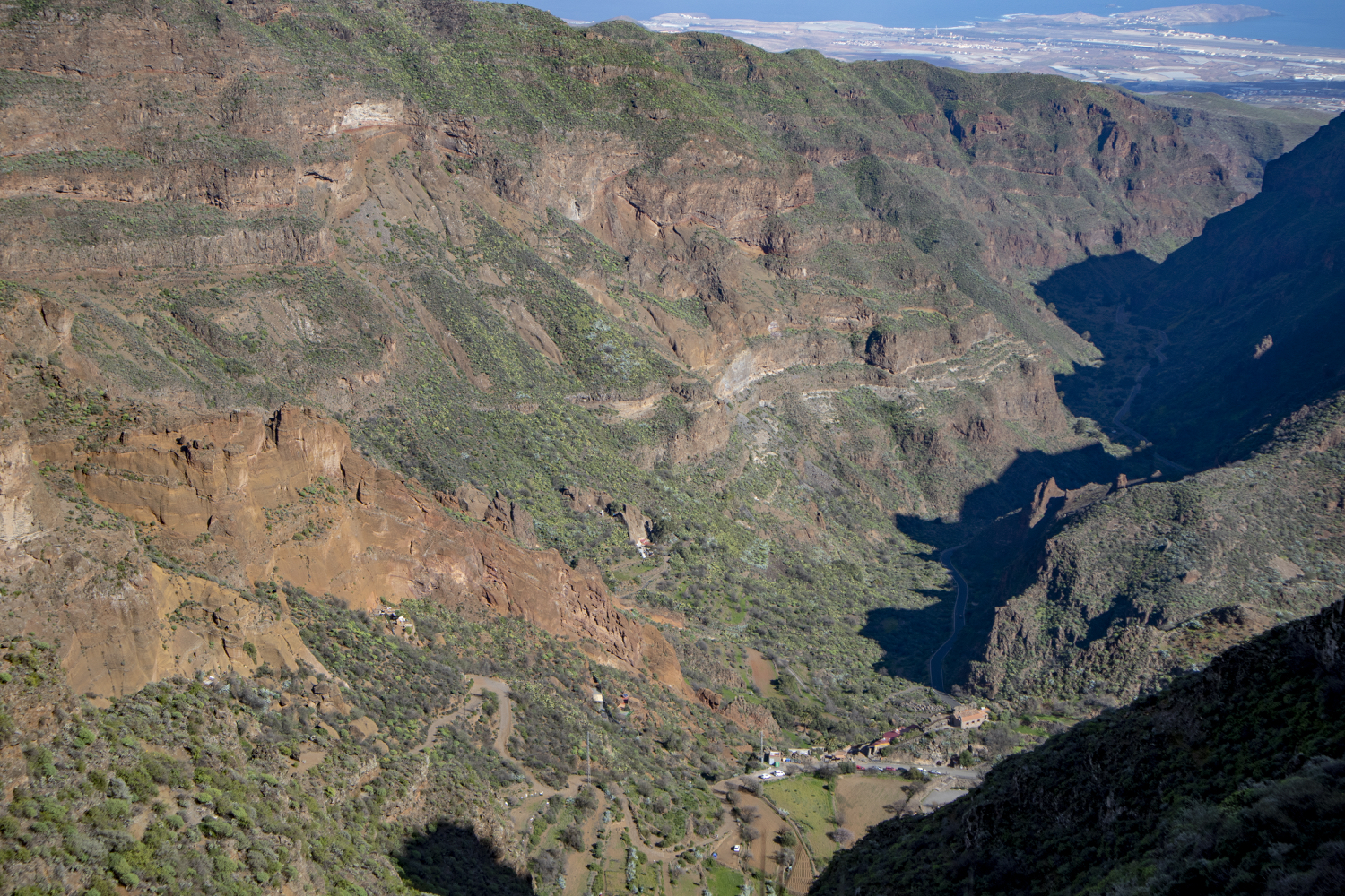 View from the height into the Barranco up to the coast