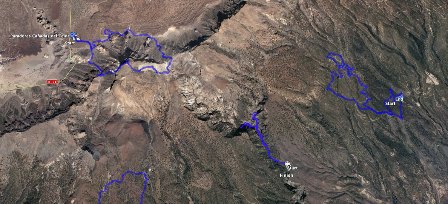 Track Hike over Arico (right) and neighbouring tracks such as Barranco Río i (centre) and Guajara (top left) - but the track itself can also be varied very well