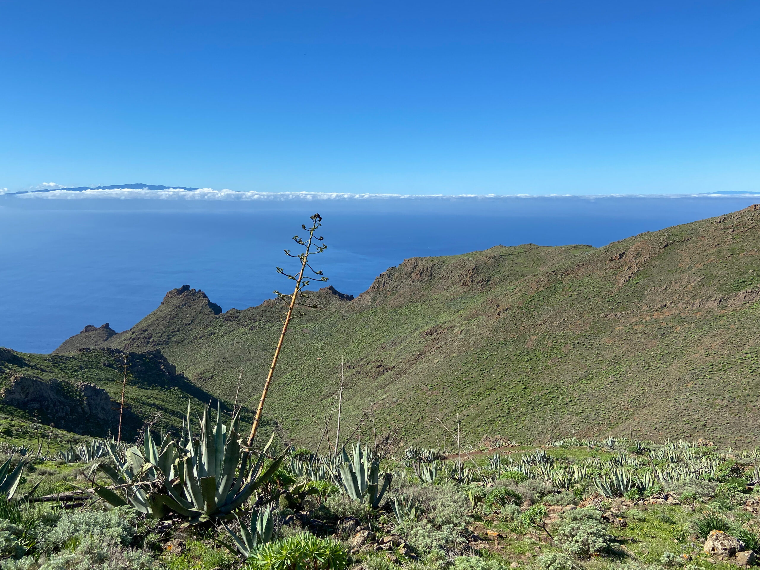 View from the heights of La Gomera and La Palma
