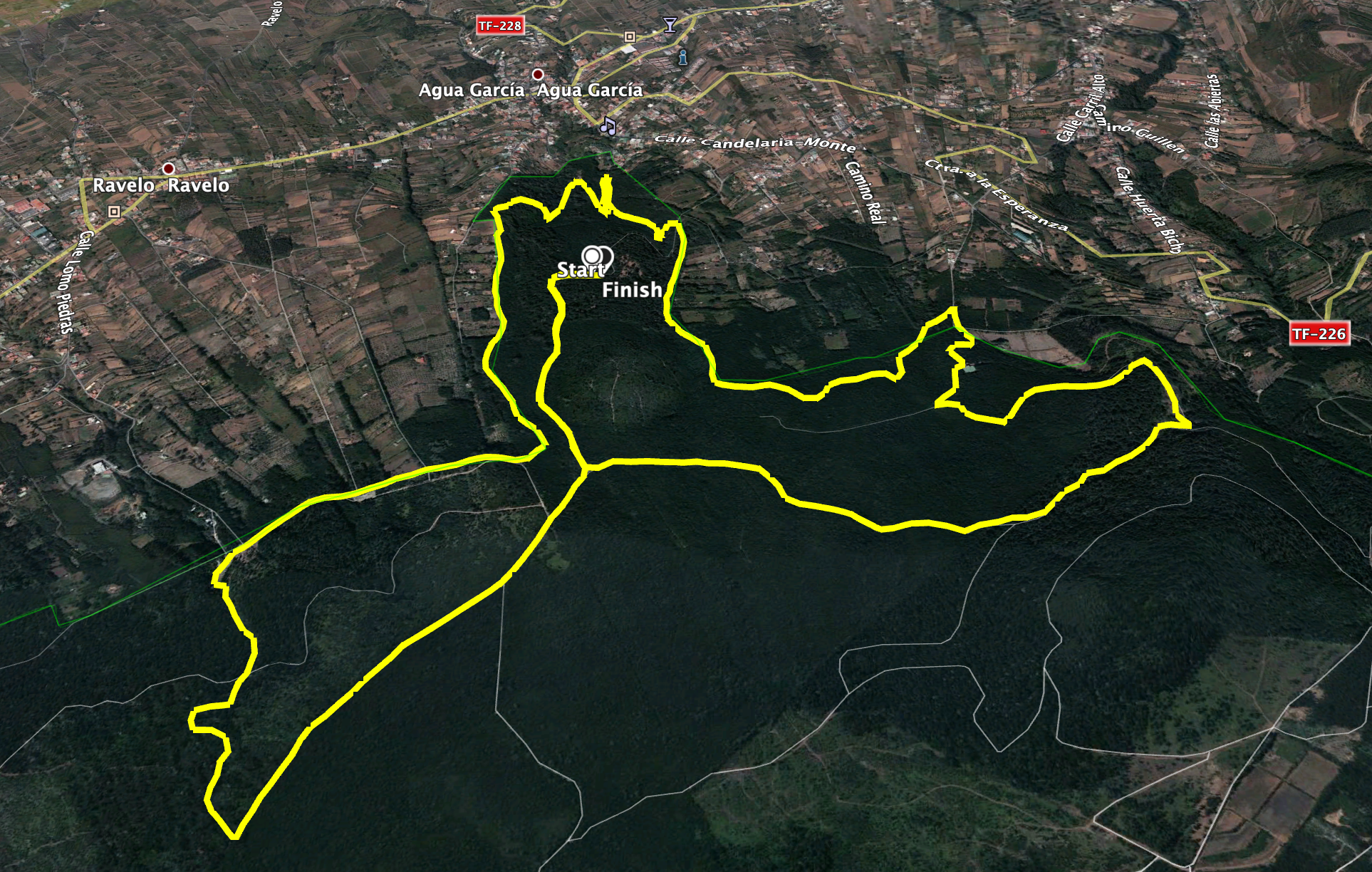 Track of the hike on the north side of the Esperanza Forest Lomo de Jara