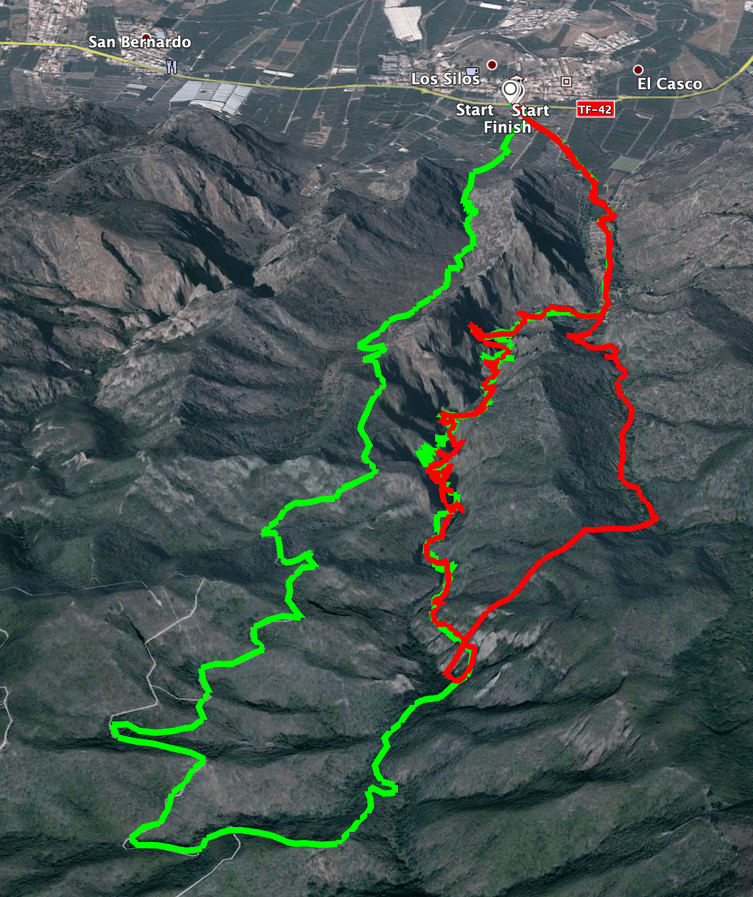 Tracks of the hikes through the Barranco de los Cochinos (green large loop, red water tunnel)