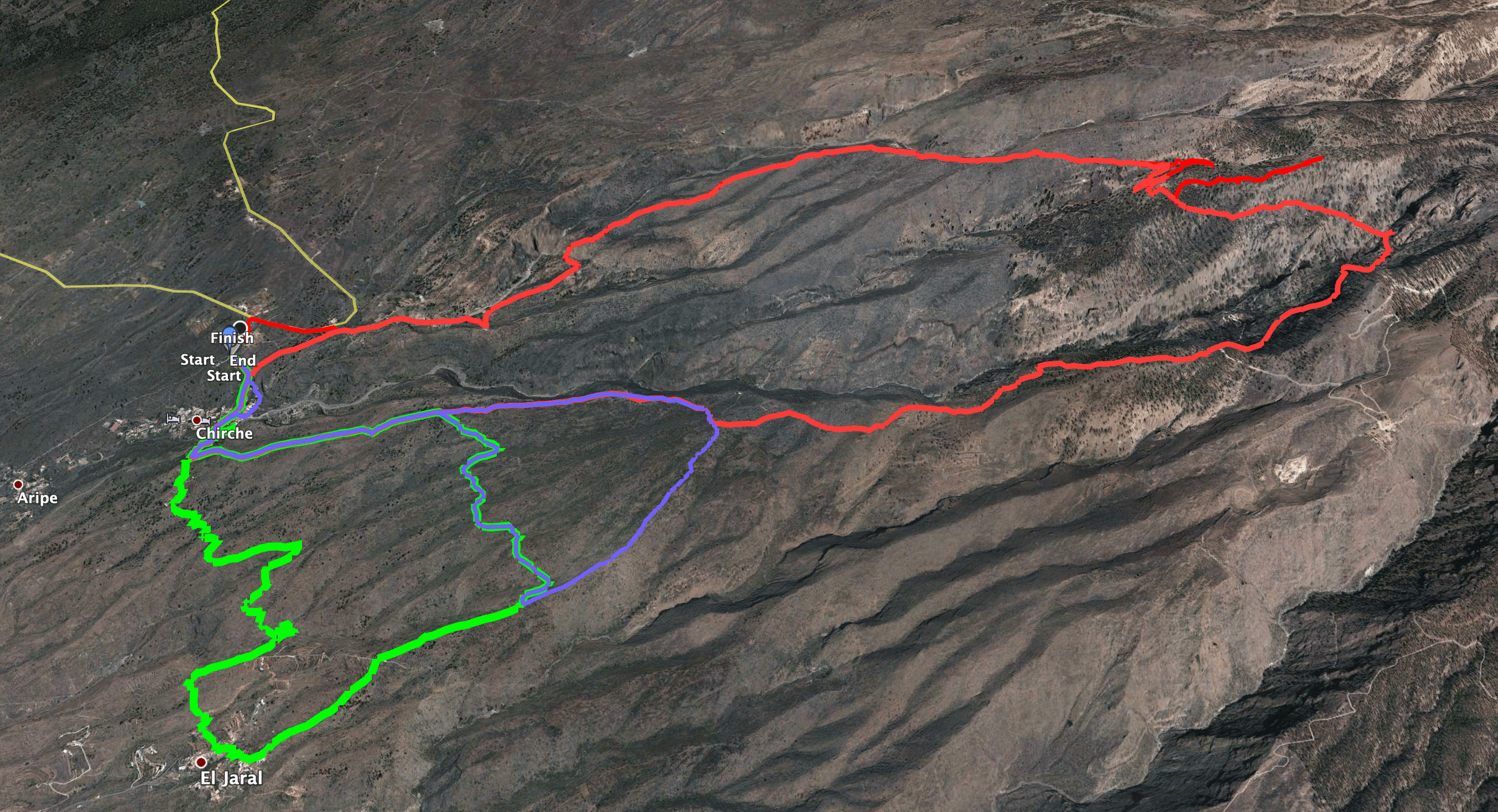 Track of the hike Chirche - Barranco de Tagara and small round trips (extensions) via El Jaral