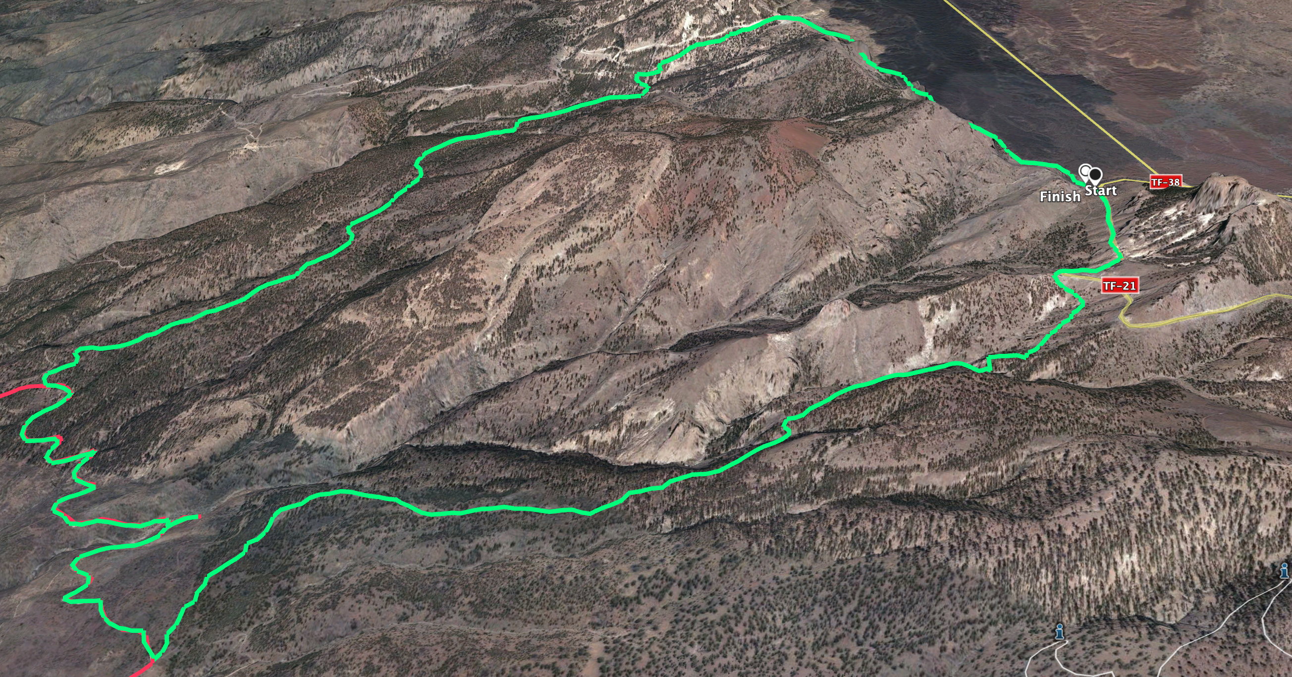 Track of the circular hike from Boca Tauce to the waterfall