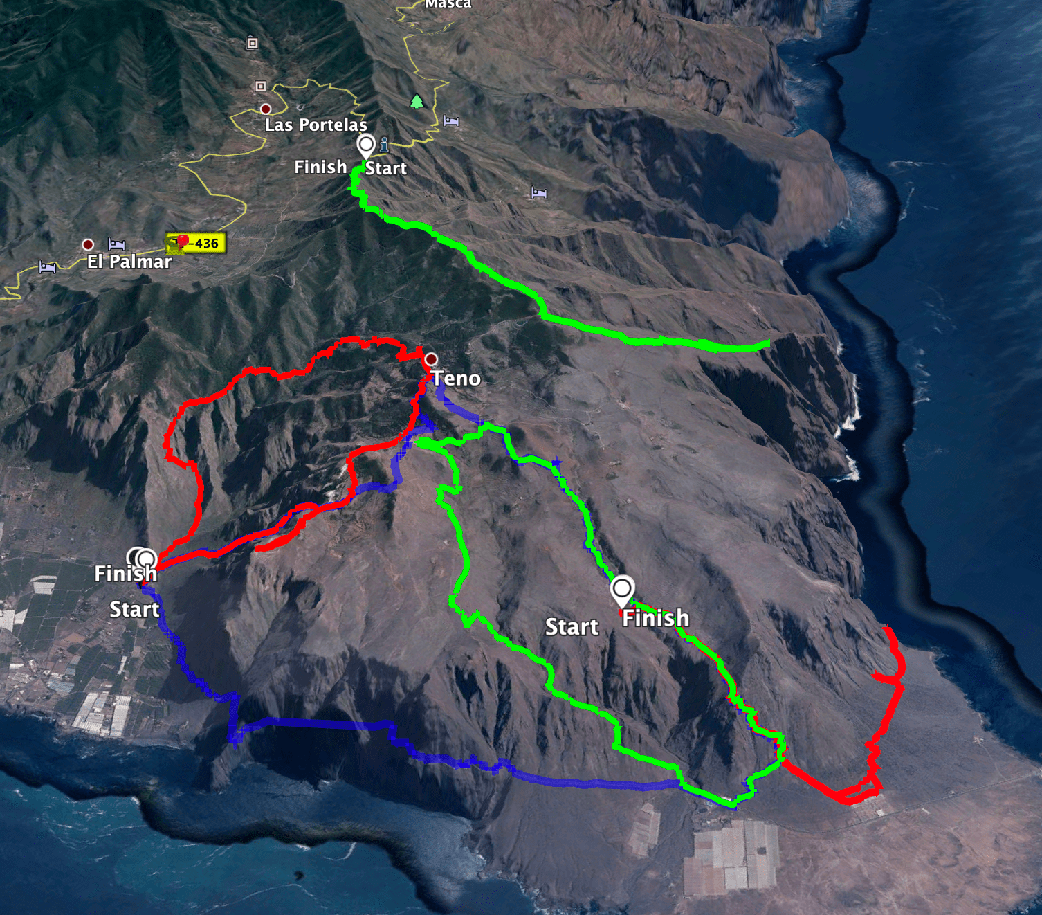 Tracks of some tours in the northern Teno mountains - green middle (the circular hike) red bottom (tour to the rock gate)